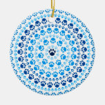 Blue Paw Circle Ornaments