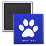 Blue Paw Print 2 Inch Square Magnet