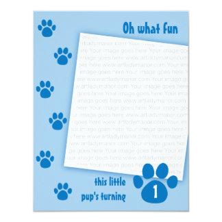 Blue Paw Print Birthday Card