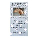 Blue Paw Print Birthday Invitation Photo Card