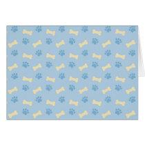 Blue Paw Print Bone Pattern