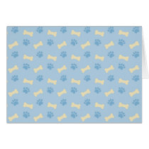 Blue Paw Print Bone Pattern Card