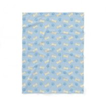 Blue Paw Print Bone Pattern Fleece Blanket