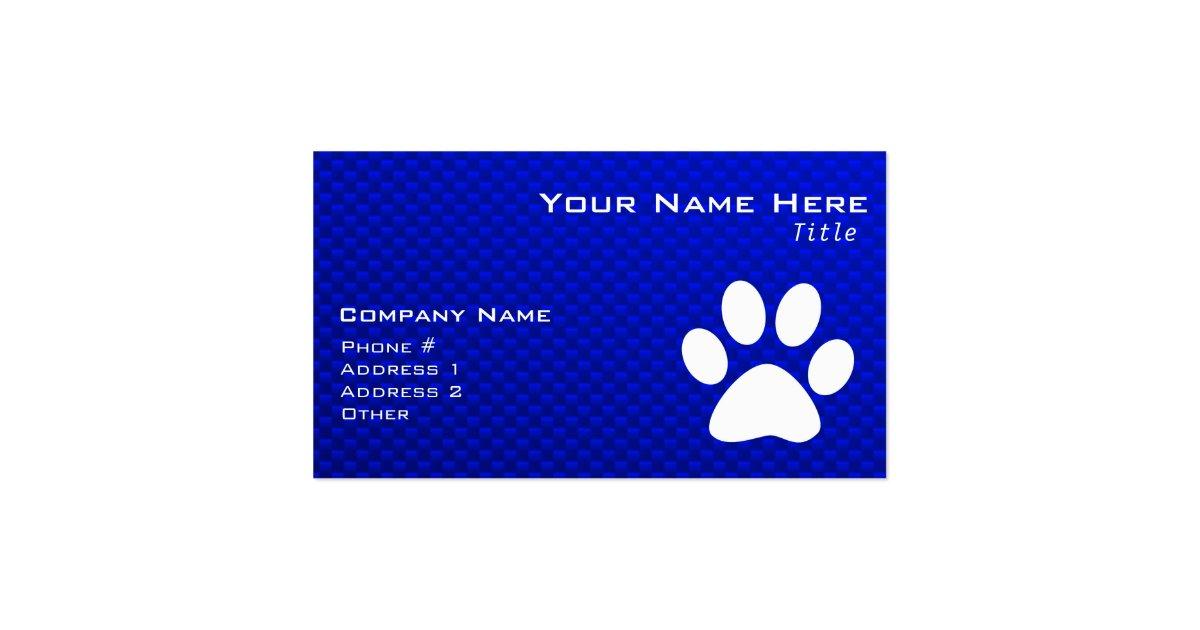 Blue Paw Print Business Card Zazzle