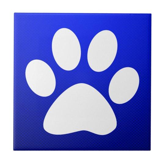 Blue Paw Print Ceramic Tile