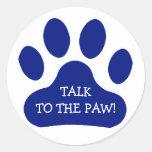 Blue Paw Print Classic Round Sticker