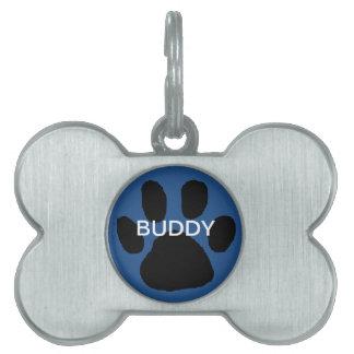 Blue Paw Print Dog Identification Tag