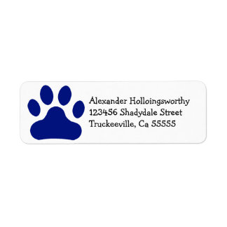Blue Paw Print Return Address Label