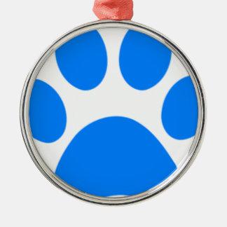 Blue Paw Print Round Metal Christmas Ornament