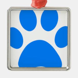 Blue Paw Print Square Metal Christmas Ornament