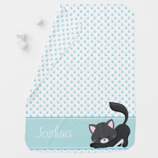 Blue Paw Print Pattern w/ Black Cat | Personalized Swaddle Blanket