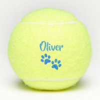 Blue Paw Print Personalized Pet or Dog Name Toy Tennis Balls