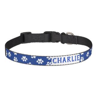 Blue Paw Print Pet Collar