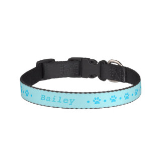 Blue Paw Print Polka Dot Dog Collar