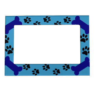 Blue Paw prints and Dog Bones Magnetic Picture Frame