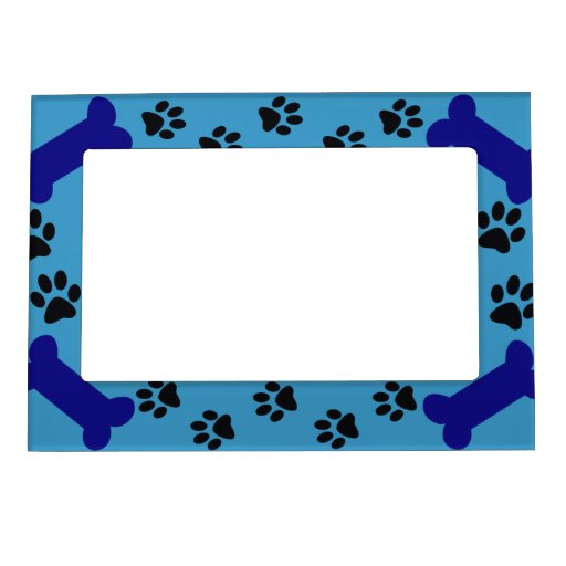 Blue Paw Prints And Dog Bones Photo Frame Magnets Zazzle