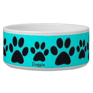 Blue Paw Prints Dog Bowl