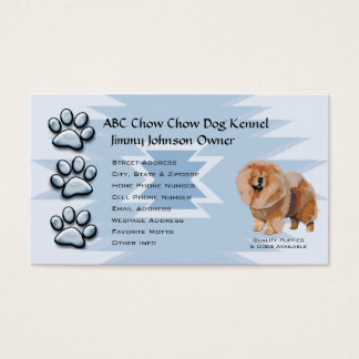 Blue Pawprint Indian design for Chow Chow Owners Business Card