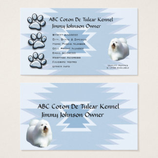 Blue Pawprint Indian design for Coton Owners Business Card
