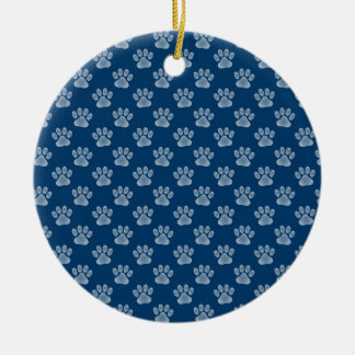 Blue Paws Double-Sided Ceramic Round Christmas Ornament
