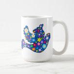 Blue Peace Dove made of decorative flowers Classic White Coffee Mug