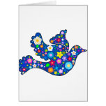 Blue Peace Dove made of decorative flowers Greeting Card