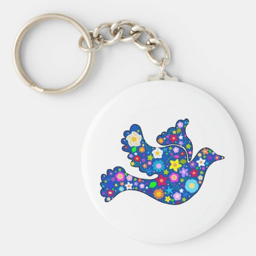 Blue Peace Dove made of decorative flowers Basic Round Button Keychain