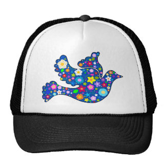 Blue Peace Dove made of decorative flowers Trucker Hat