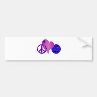 Blue Peace Love Happiness Bumper Sticker