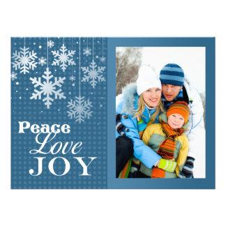Blue Peace Love Joy Photo Christmas Flat Card Custom Invitations
