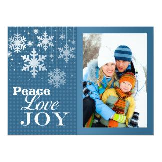 "Blue Peace Love Joy Photo Christmas Flat Card 6.5"" X 8.75"" Invitation Card"