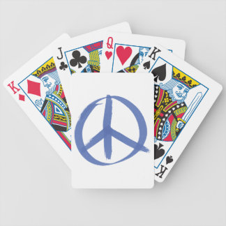 Blue Peace Sign Bicycle Playing Cards