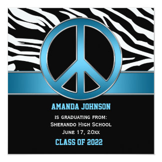 Blue Peace Sign Black Zebra Graduation Card