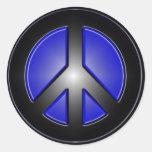 Blue Peace Sign Classic Round Sticker