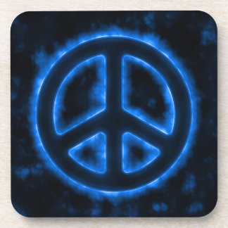 Blue Peace Sign Drink Coaster