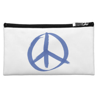 Blue Peace Sign Cosmetic Bag