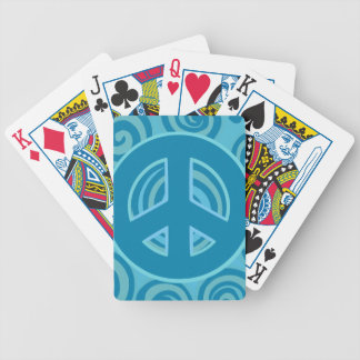Blue Peace Sign Design Bicycle Playing Cards