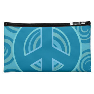 Blue Peace Sign Design Cosmetic Bag