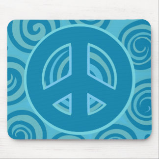 Blue Peace Sign Design Mouse Pad