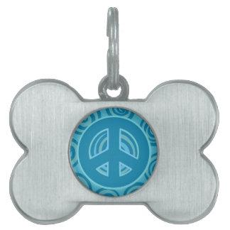 Blue Peace Sign Design Pet Name Tag
