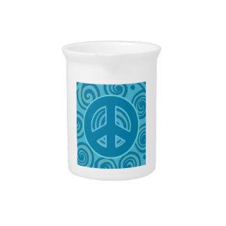 Blue Peace Sign Design Drink Pitchers
