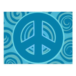 Blue Peace Sign Design Postcard