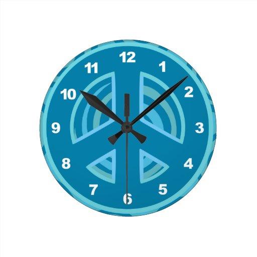 Blue Peace Sign Design Round Clock