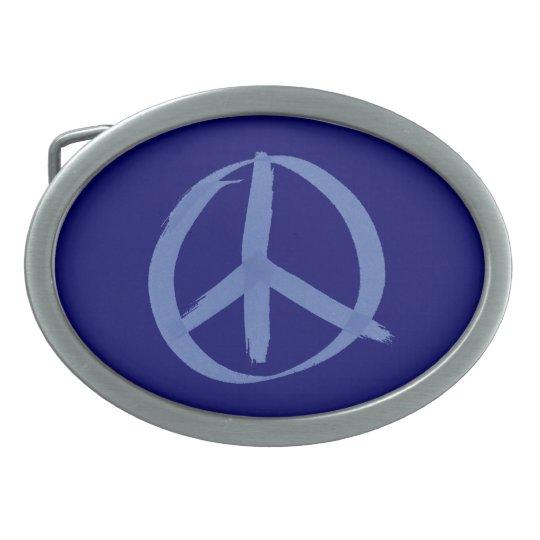 Blue Peace Sign Oval Belt Buckle