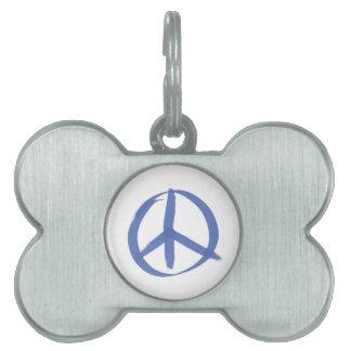 Blue Peace Sign Pet ID Tag
