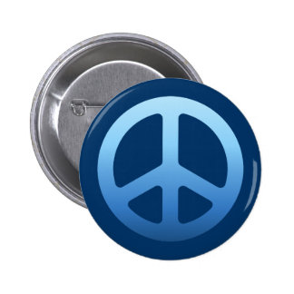 Blue Peace Sign Pinback Button