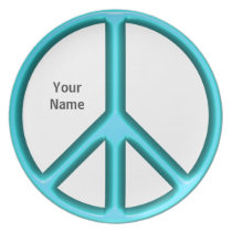 Blue Peace Sign Plate