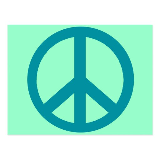 Blue Peace Sign Products Post Cards