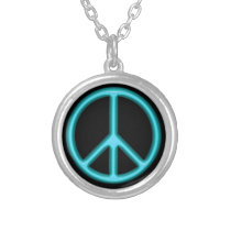 Blue Peace Sign Silver Plated Necklace