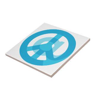 Blue @Peace Sign Social Media At Symbol Peace Sign Ceramic Tile
